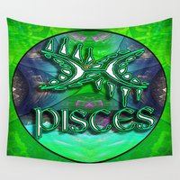 astrology Wall Tapestries featuring Pisces Zodiac Sign Astrology by CAP Artwork & Design