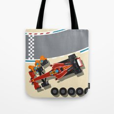 Race car in pit stop Tote Bag