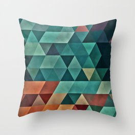 Teal/Orange Triangles Throw Pillow