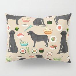 black lab sushi dog breed pet portrait gifts for labrador retriever lovers Pillow Sham