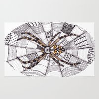 spider Area & Throw Rugs featuring Spider by Laura Maxwell