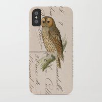 postcard iPhone & iPod Cases featuring Owl postcard by Vintage@Heart