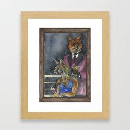 Fox on the Rocks Framed Art Print
