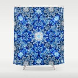 Aqua Crystal Mandala Shower Curtain