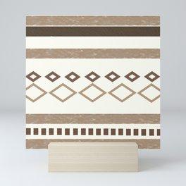 Western Pattern, Out West, Patterns, Brown, Tan, Beige, Shapes, Geometric Western Art Mini Art Print