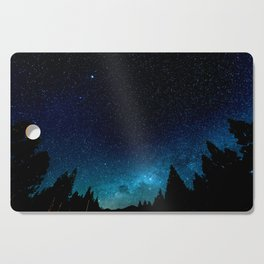 Black Trees Turquoise Milky Way Stars Cutting Board