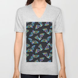 Psychedelic Bats on Black Unisex V-Neck