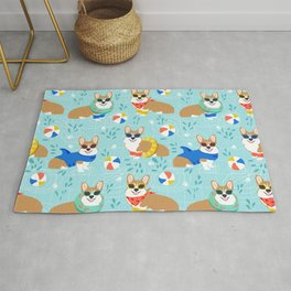 Corgi Pool Party Summer corgi pattern beach pall summer corgi costume cute dog design Rug