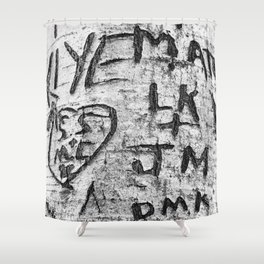 Love messages carved in the tree in Lover's Lane, Green Gables Shower Curtain