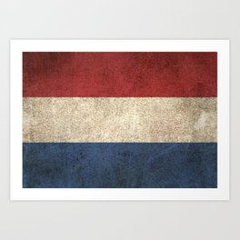 Old and Worn Distressed Vintage Flag of The Netherlands Art Print