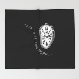 Salvador Dali Inspired Melting Clock. Time is melting away. Throw Blanket