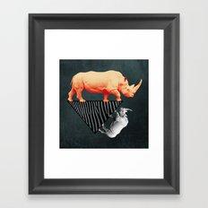 The orange rhinoceros who wanted to become a zebra Framed Art Print