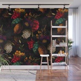 Midnight Hours Dark Vintage Flowers Garden Wall Mural