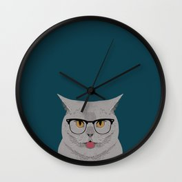 Kai - British shorthair cat gifts for cat lovers, cat lady gifts Cat people gifts, Hipster Glasses Wall Clock