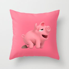 Rosa the Pig does a poop Throw Pillow