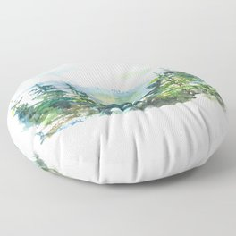 Mountain and trees hand painted illustration Floor Pillow