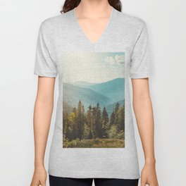 Panoramic view of nature peaceful landscape. Vintage mountains and beautiful blue sky background.  Unisex V-Neck