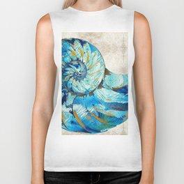 Tropical Blue Beach Art - Nautilus Shell Bleu 2 - Sharon Cummings Biker Tank