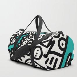 Green Acqua Street Art Black and White Creatures Duffle Bag