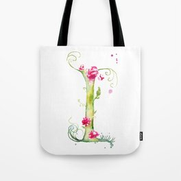 Letter I watercolor - Watercolor Monogram - Watercolor typography - Floral lettering Tote Bag