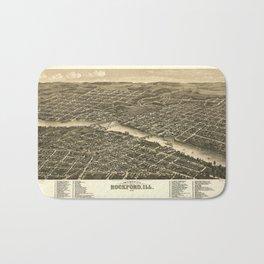 Bird's eye view of the city of Rockford, Illinois (1880) Bath Mat