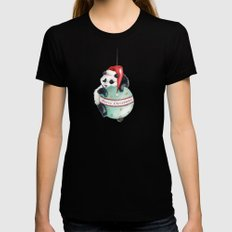 Christmas Panda Womens Fitted Tee Black LARGE