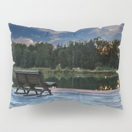 Lonely bench in the sunset Pillow Sham