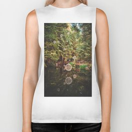Balls of Light in Forest Biker Tank