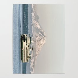 Seattle Bainbridge Island Ferry with Mount Rainier Poster