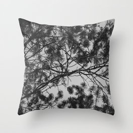 B&W Tree branches in the clear sky | Nature series II. Throw Pillow