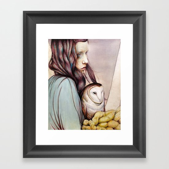 The Girl and the Owl Framed Art Print
