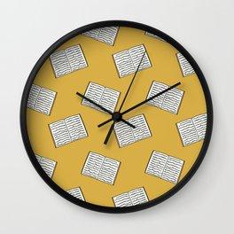 Open Book Pattern (Mustard) Wall Clock
