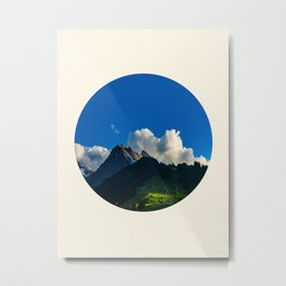 Green Mountain Valley Clouds & Blue Sky Metal Print