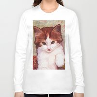 copper Long Sleeve T-shirts featuring Copper kitten by Michelle Behar