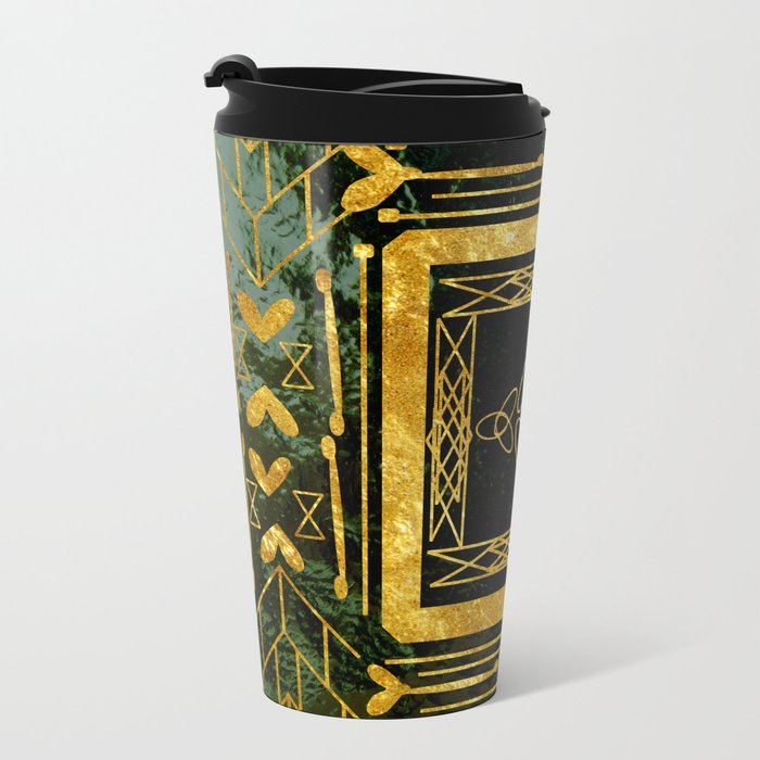 Folk Art Deco Metal Travel Mug