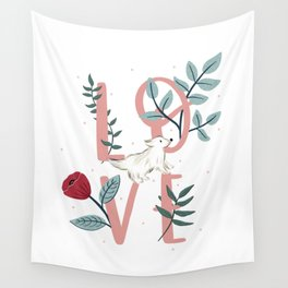Floral Dog Love Wall Tapestry