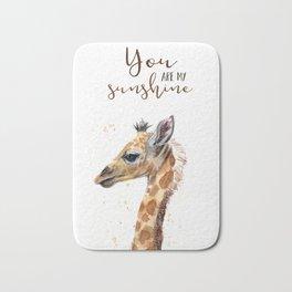 You Are My Sunshine Giraffe Nursery Animals Watercolor Art Bath Mat