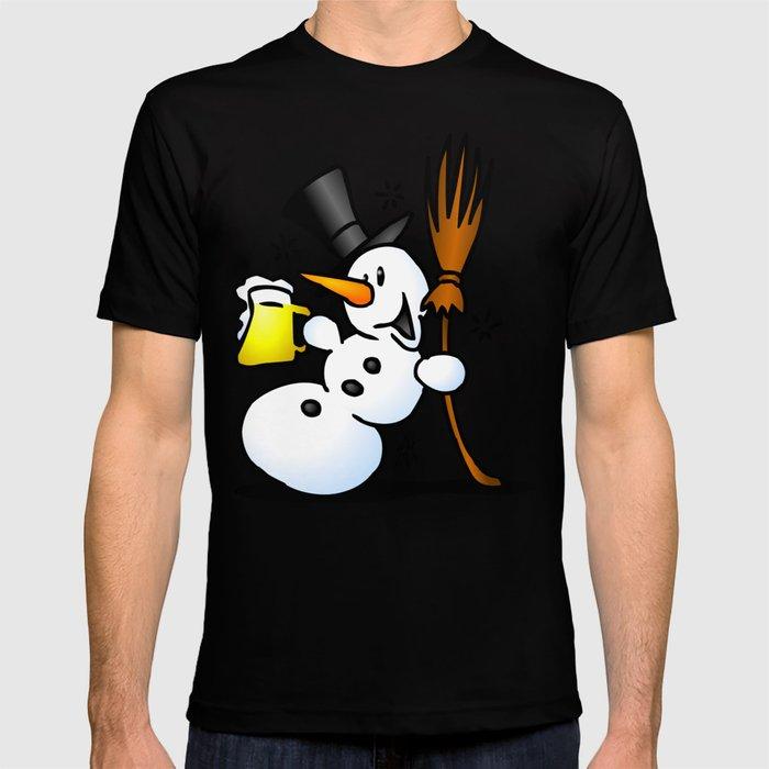 Snowman drinking a beer T-shirt