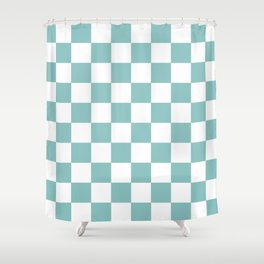 Chalky Blue Checkers Pattern Shower Curtain