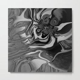 Black white and gray modern abstract art Metal Print