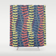 seagrass pattern - blue red yellow Shower Curtain