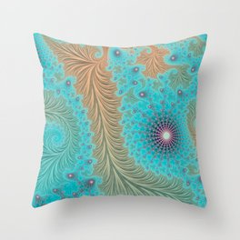 "Aqua Teal Turquoise ""Aquae"" - Fractal Art Throw Pillow"