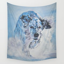 English Setter in Snow dog art from an original painting by L.A.Shepard Wall Tapestry