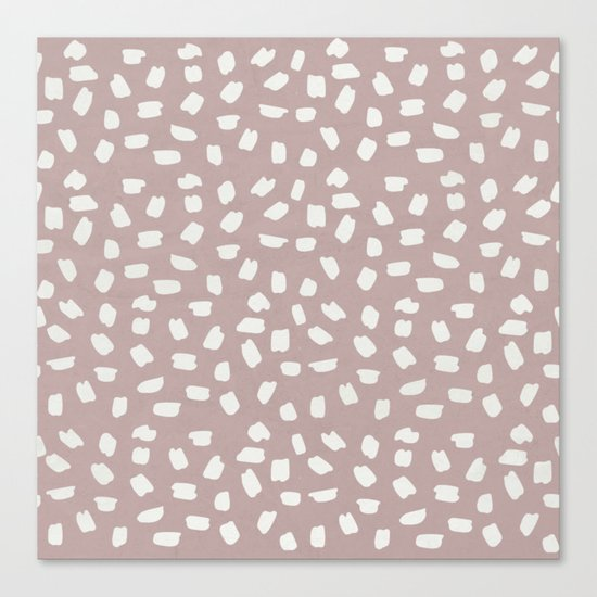Simply Ink Splotch Lunar Gray on Clay Pink Canvas Print