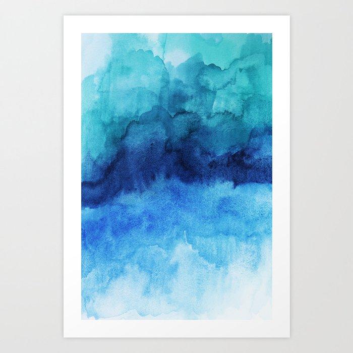 Blue Life Watercolor Kunstdrucke