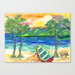 Artie the Island Dog's Red Boat Canvas Print