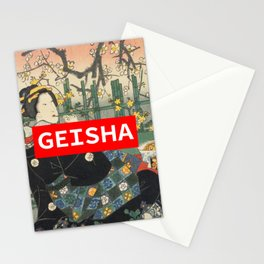 Geisha with Cherry Blossoms (Sakura trees) Stationery Cards