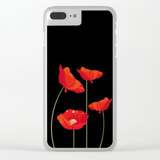 Graceful poppies Clear iPhone Case