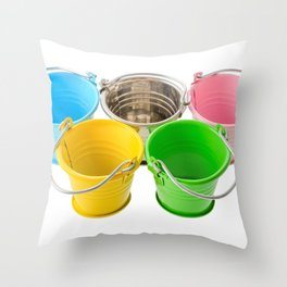 Colorful buckets Throw Pillow