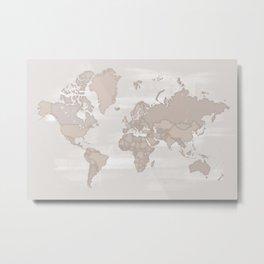 Distressed world map, taupe Metal Print
